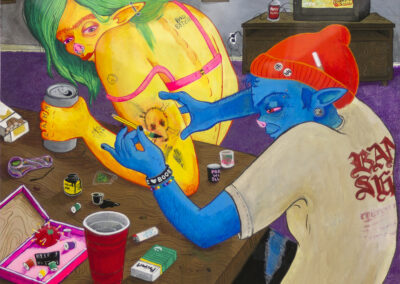 """Sam Sankey """"Yeah, come over tonight, my moms away all weekend"""" gouache and ink on paper, $300.00"""