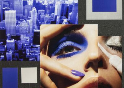 "Luis Alves: Collage ""Alien Attack (Blue)"" framed hand made collage, $450.00"