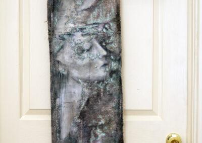 "Andrea McKenna ""Undercurrent"" acrylic over limestone plaster on burlap, $900.00"