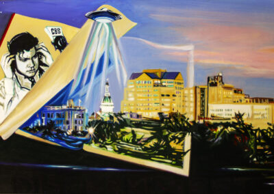 """Maria Mijares """"Discernment..War of the Worlds"""" acrylic on board, $4,500.00"""