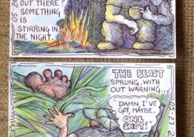"""Bill Vivona """"Nearly True Stories"""" colored pencil and ball point pen on reclaimed card stock, $200.00"""