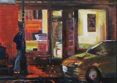 """Steven Epstein -""""Another Wet Night on Main"""" acrylic on hardboard"""