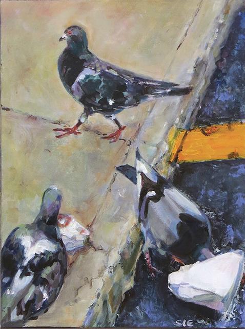 "Steven Epstein -""Citi Birds"" acrylic on canvas"