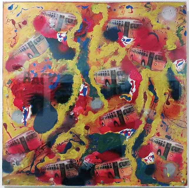 """Fred Cole -""""Cleveland Avenue Bus"""" recycled plastic, photostats, paint"""