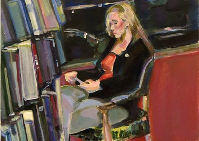 "Steven Epstein -""Girl in the Book Store Window"" acrylic on canvas"