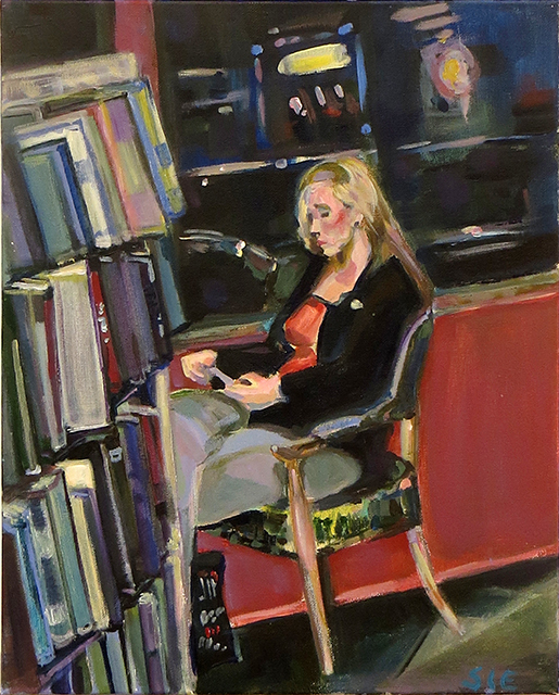 """Steven Epstein -""""Girl in the Book Store Window"""" acrylic on canvas"""