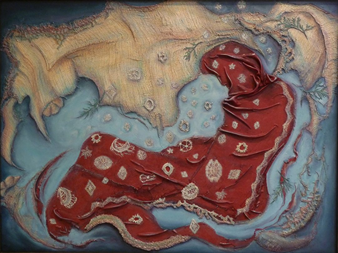 January's Passing  – Media: fabric, gauze, crocheted medallions, arborvitie clippings, mica dust, oil paint on canvas, 26″ x 35″
