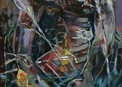 "Steven Epstein -""Nether Fish Gnaw Flesh"" acrylic, newsprint on hardboard"