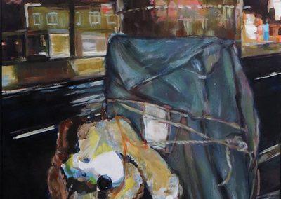 "Steven Epstein -""Road Shrine #2"" acrylic on hardboard"