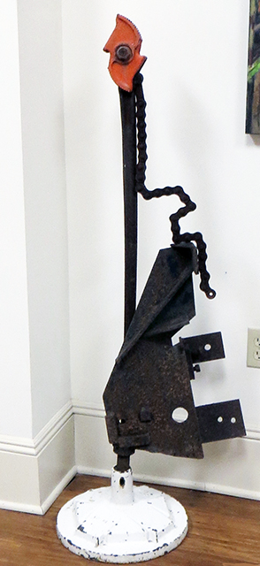 """Fred Cole -""""Rooster with Long Neck and Heavy Bottom"""" recycled heavy metal and pipe bending tool"""