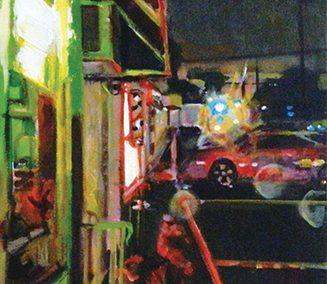 "Steven Epstein -""Strip Mall Wet Night"" acrylic on canvas"