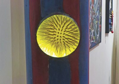 "Fred Cole -""Striped Lamp with Creature Beneath the Deep"" metal container with lenses, street lamp, sponge ball"
