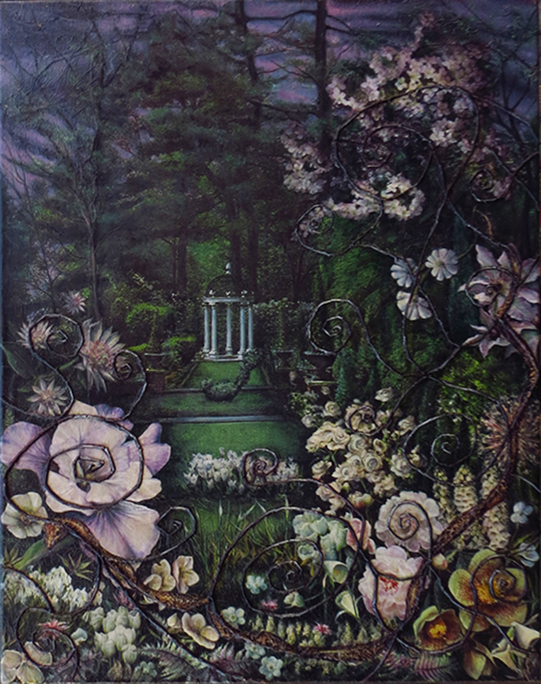 """Garden Series – """"The Dark Garden""""  – collage on canvas with magazine clippings, twigs, snake skin and oil – 19″ W x 24″ H"""