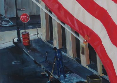 "Steven Epstein – ""In the Shadow of the Flag"" acrylic on hardboard"