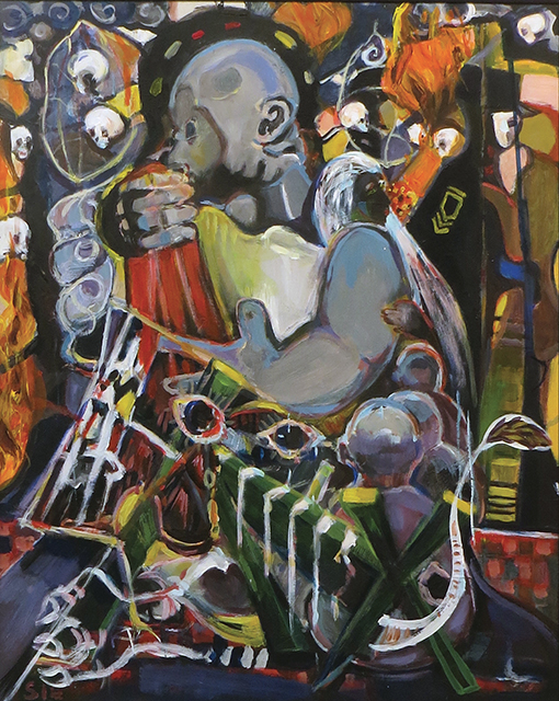 """Steven Epstein -""""World of Grief' acrylic on hardboard"""