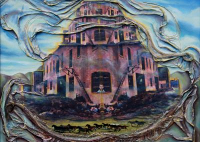 Resurrection of the City Stables – 20″ x 24″  paper, fabric, horsehair, oil  on canvas