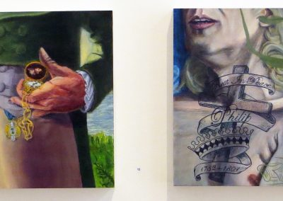 "Daniel Oliva  ""View East: Aaron Burr"" oil on panel, $1,000.00 and ""View West: Alexander Hamilton"" oil on panel, $1,000.00"