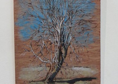 "Brian McCormack ""Dead Sycamore on the Raritan-2"" pyro detailer, paint on scrap wood"