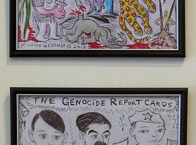 "Richard Gessner ""America's Apocalyptic First Family"" pen and marker on paper, $150.00 and ""Genocide Report Cards"" ballpoint pen on paper, $150.00"