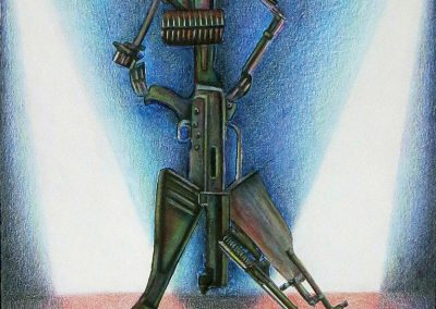 "Joan Sonnenfeld ""Gun Show II"" collage and colored pencil on paper"
