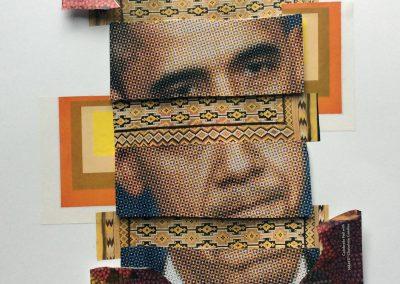 "Judy Skillman  ""Obama"" mixed media collage, $500.00"