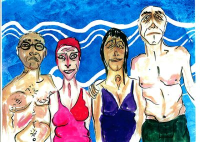 "Sam Caponegro ""Beach Club"" print of watercolor and ink on paper"