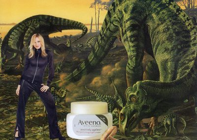 "Luis Alves: Collage "" ""Walking with Dinosaurs"" ""Aveeno"" Triptych handmade collage"
