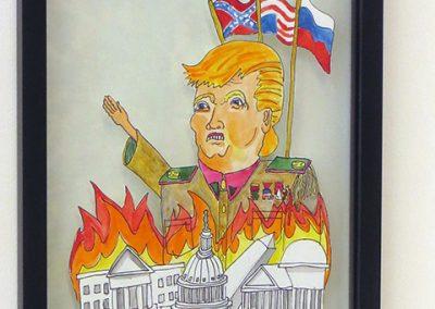 "David LaMorte ""Watch the World Burn"" watercolor on cut paper, $100.00"