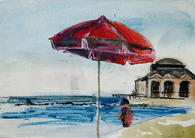"Brian McCormack ""Red Umbrella"" watercolor"