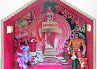 "Luis Alves ""Shrine/Happiness"" mixed media wood box assemblage, $250.00"
