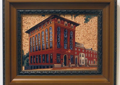 "Sean Carney  ""West State"" wood stain on etched pine, $300.00"