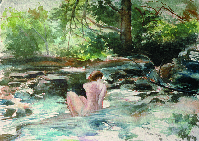 Bather in stream at Harriman State Park