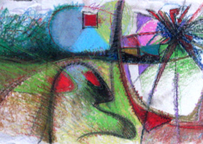 Untitled – cray-paz on raw canvas