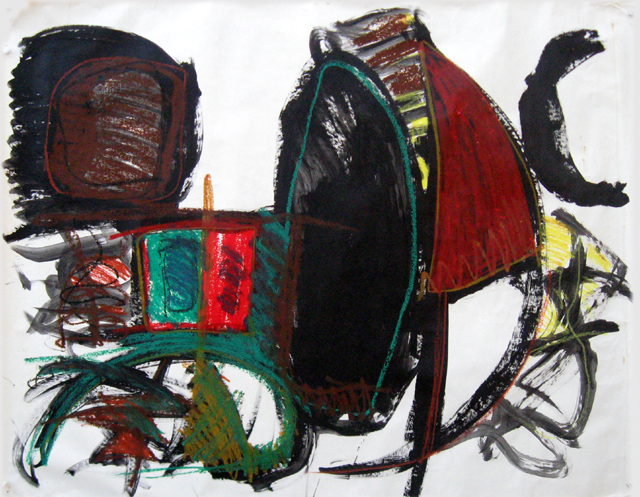Untitled – ink, paint-cray-paz on paper