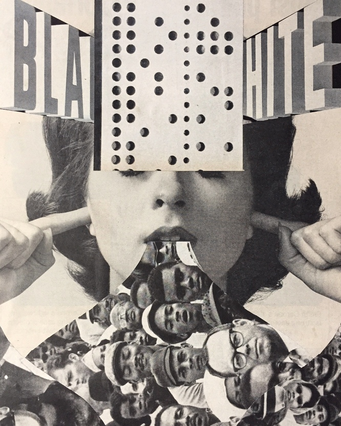 """Curt Harbits """"Rendered Invisible Through Silence"""" hand cut collage on paper, $150.00"""