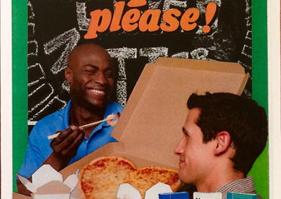 "Luis Alves: collage  ""Pizza"" (from ""Black Lives Matter"" series) framed handmade collage, $350.00"