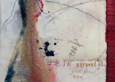 "Francesca Azzara  ""Unravel It"" encaustic and mixed media on panel, $400.00"