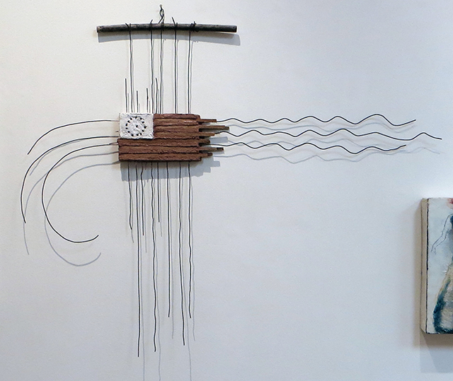 """Eric Beckerich  """"Brown Flag of America"""" mortar, wood and wire, $500.00"""