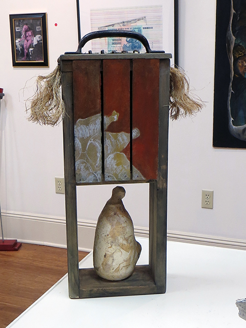 """Neal Korn and Leonard Merlo """"Solitude"""" wood, rope, acrylic, air clay, wire , found object, $250.00"""