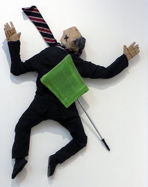 """Lisa Bagwell """"One Less Lobbyist"""" wood, fabric, cardboard, plastics, Brillo, NFS"""