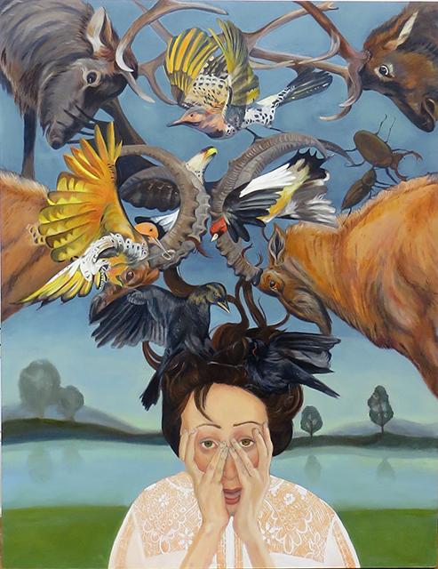 "Sharon Sayegh ""Nightly News"" oil on panel, $3,456.00"