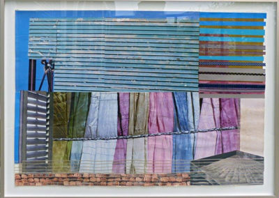 "E. Carol O'Neill   ""Reframed and Rebuilt"" collage,  $300.00"