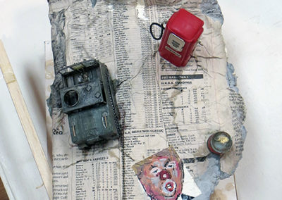 "Peter Arakawa ""Current Events"" mixed media sculpture, $150.00"