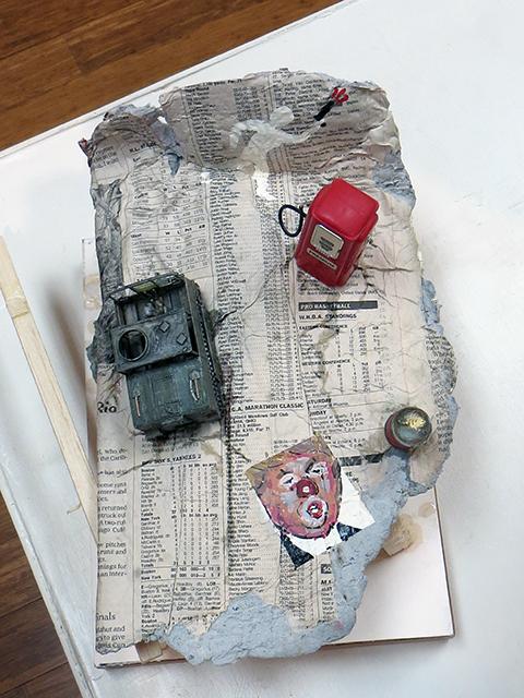 """Peter Arakawa """"Current Events"""" mixed media sculpture, $150.00"""