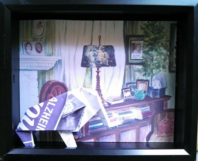 """Valerie Shkymba McAndrews """"The Elephant in the Room"""" mixed media, $250.00"""