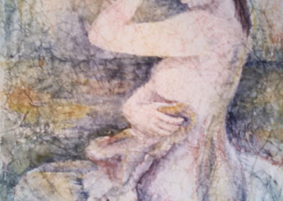 "Valerie Shkymba McAndrews  ""Unmentionable"" watercolor and masa paper on illustration board, $250.00"