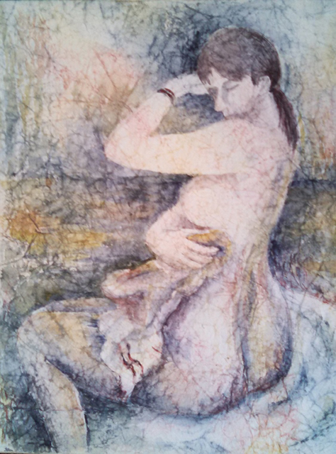 """Valerie Shkymba McAndrews  """"Unmentionable"""" watercolor and masa paper on illustration board, $250.00"""