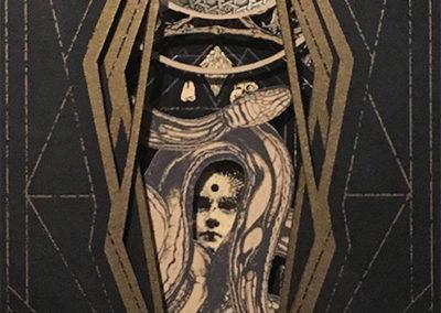 """Profane Idol II""  hand cut paper, silk screen sculpture by Alex Eckman-Lawn"