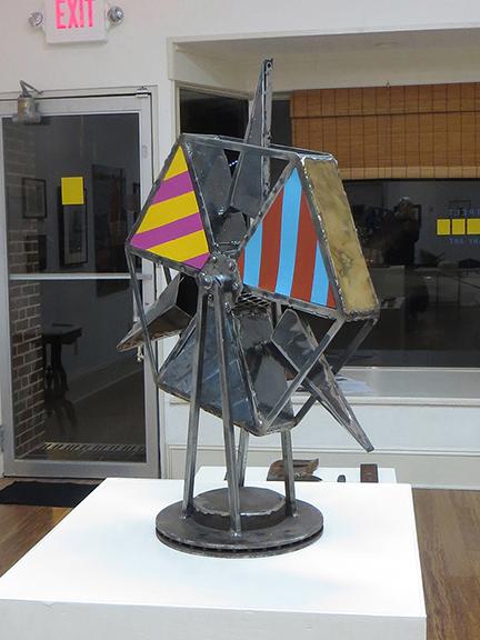 "Michael Benevenia – ""The Wheel II"", 2014, steel, lead, wood, brass, acrylic on panel"