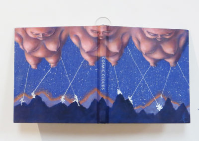 "Mary Jean Canziani – ""Cosmic Clouds"" Acrylic on Vintage Book Cover"